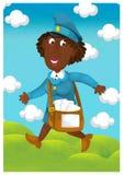 Kvinnan som levererar post - illustration för barnen Royaltyfri Bild