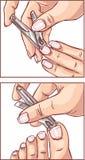 Kvinnan, som snitt spikar av händerna och fot använda, spikar sax stock illustrationer