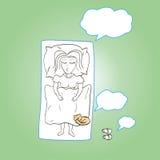 Kvinnan som sover under en filt med en katt och henne, drömmer Royaltyfri Fotografi