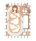 Kvinnan som tar ett bad, badar med houseplants Royaltyfria Bilder