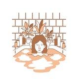 Kvinnan som tar ett bad, badar med houseplants Arkivfoton