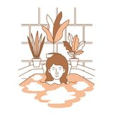 Kvinnan som tar ett bad, badar med houseplants Arkivbild