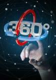 Kvinnan som trycker på 360 grad 3D, framför symbolen med hennes finger Arkivbilder
