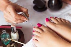 Kvinnan spikar in salonghäleripedikyr av kosmetologen Arkivfoto