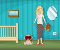 Kvinnan står bredvid ett skriande barn stock illustrationer