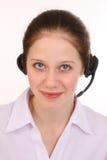Kvinnan svarar telefonen Royaltyfria Foton