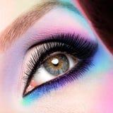 Kvinnan synar med ljus blå makeup för härligt mode arkivfoto