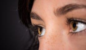 Kvinnan synar med långa ögonfranser Arkivfoto