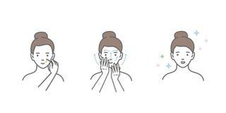 Kvinnan tar omsorg om framsida Moment hur man applicerar ansikts- serum vektor illustrationer