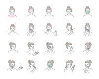 Kvinnan tar omsorg om framsida Moment hur man applicerar ansikts- serum Vektor isolerad illustrationuppsättning Arkivfoton