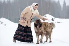 Kvinnan utbildar den Caucasian herden, och gårdhunden på en snöig jordning i parkerar royaltyfria foton