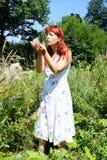 Kvinnan väljer blommor Arkivfoto