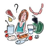 Kvinnan väljer mat royaltyfri illustrationer