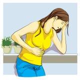 Kvinnan var den sjuka magen smärtar Arkivfoton