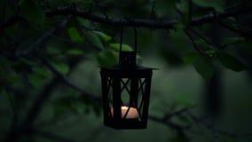Kvinnans hand tänder en stearinljus på stearinljuslyktan i skogen stock video