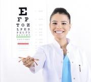 Kvinnaoptiker eller optometriker royaltyfria bilder