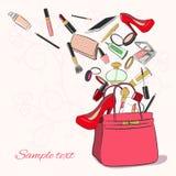Kvinnapåse med skönhetsmedel stock illustrationer