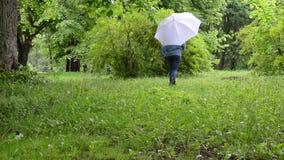 Kvinnaparaplyet parkerar trädet arkivfilmer