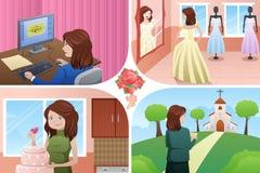 Kvinnaplanläggning för hennes bröllop vektor illustrationer