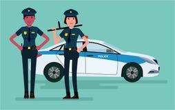 Kvinnapoliser Förmyndare av beställning För tecknad filmdesign för vektor som plan illustration isoleras på vit bakgrund Royaltyfria Foton