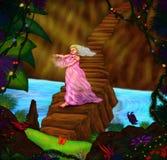 Kvinnapriestess som går över en bro och ett innehav en crystal blomma Arkivbild