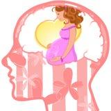 Kvinnaprofil med den synliga hjärnan Havandeskap Arkivfoton