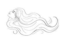 Kvinnaprofil med långt hår Arkivbilder