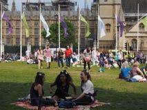 Kvinnarösträtt på 100 i London Royaltyfri Foto