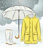 Kvinnaregnkängor, omslag och paraply med den blom- modellen stock illustrationer