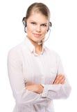 Kvinnarengöringsdukhörlurar med mikrofon Arkivbilder