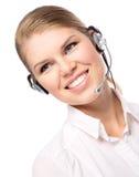 Kvinnarengöringsdukhörlurar med mikrofon Arkivfoton
