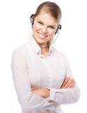 Kvinnarengöringsdukhörlurar med mikrofon Royaltyfria Bilder
