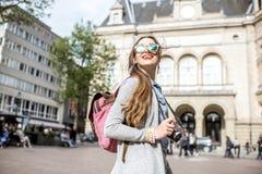 Kvinnaresande i Luxembourg Royaltyfri Fotografi