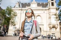 Kvinnaresande i Luxembourg Royaltyfria Foton