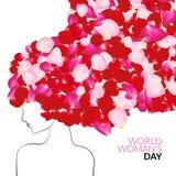 Kvinnas begrepp för ferie för dag internationellt med rosa kronblad i stället för hår royaltyfri illustrationer