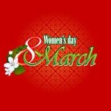8 kvinnas för mars bakgrund för dag med 8 text för mars som garneras av härliga vita blommor Arkivbilder