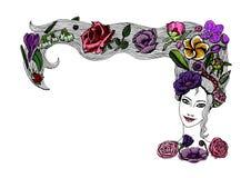 Kvinnas framsida med färgrika blommor i frisyr Vår eller sommarflicka royaltyfri illustrationer
