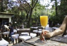 Kvinnas hand som rymmer ett exponeringsglas av orange fruktsaft Fotografering för Bildbyråer