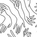 Kvinnas handlinje svartvit sömlös modell Ändlös bakgrund för vektor av kvinnliga händer vektor illustrationer