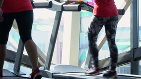 Kvinnas körningar på trampkvarnen på konditionmitten Attraktiva caucasian flickor som kör på trampkvarnen i sportidrottshallen stock video