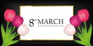 Kvinnas kort för hälsning för svart för dag8th marsch med färgrika tulpan royaltyfri illustrationer