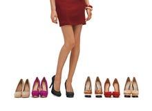 Kvinnas långa ben med höga häl royaltyfri fotografi