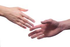 Kvinnas och mans händer Arkivfoto