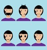 Kvinnas sinnesrörelsesymboler i vektor Fotografering för Bildbyråer