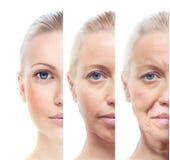 Kvinnas stående 20,40,60 gamla år. Arkivfoto