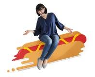 Kvinnasammanträde på en illustrerad hotdog Royaltyfri Fotografi