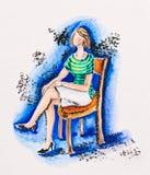 Kvinnasammanträde på en stol stock illustrationer