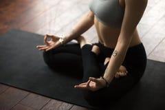 Kvinnasammanträde på mattt i Lotus poserar danandemudraen, studio Arkivfoton