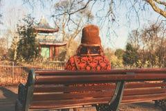 Kvinnasammanträde parkerar på bänken i vinter Royaltyfri Bild