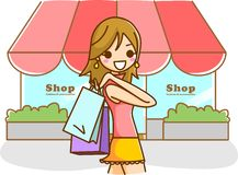 Kvinnashopping royaltyfri illustrationer